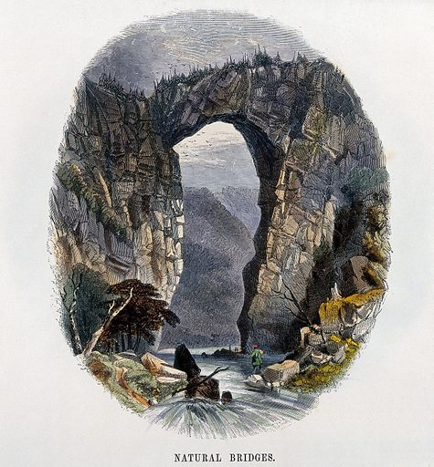 Geography: rock bridge formed by erosion. Coloured wood engraving by C Whymper. Contributors: Charles H Whymper (1853–1941). Work ID: djsze7w6.