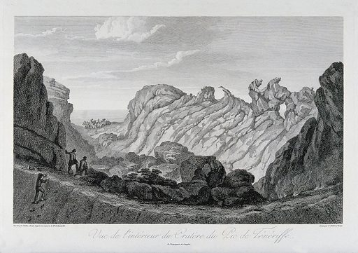 The interior of the crater of Pico de Teide, Tenerife. Etching by P Parboni after JG Gmelin after A von Humboldt. Volcanoes. Pico de (Canary Islands) Teide. Cañadas del Teide (Canary Islands). Contributors: Alexander von Humboldt (1769–1859); Johann Georg Gmelin (1810–1854); Pietro. Parboni. Work ID: krujyf45.
