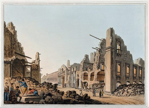 """Messina: ruins of the city after an earthquake. Coloured aquatint, 1809, after L Mayer. """" The ruins of the Palazzo Alcontes and the church and convent of the Theatines, which form the subject of the view annexed, display the havoc of one of the most memorable catastrophes recorded in history. The weather in the year 1782 seemed to forbode some commotions in the volcanic country of Calabria, and on the 1st of January 1783, a slight shock of an earthquake was felt. On the 7th of the same month, and on the 1st and 28th of March, three other earthquakes took place. In the course of this year, no less than 949 shocks were noticed, in 1784 there were 151, and they did not entirely cease till the end of the year 1786. These extended more or less over a circle 140 miles in diameter, in the central part of which it was most violent. Of 440,000 persons inhabiting this district, near 30,000 perished beneath the ruins, and near 6,000 died of the disease that ensued. The town of Casal Nuovo was so completely destroyed in an instant, that every vestige of it's streets was confounded in one undistinguishable heap of ruins, and 4,000 persons perished in it; though many were dug out, and some even unhurt. At Scylla, nearly opposite Messina, a vast promontory, falling into the sea, caused such a flux and reflux of the waters, that about 2,500 persons, who had repaired for security to the beach, were at once washed into eternity. During the summer of this memorable year a dry fog overspread all Europe, occasioned no doubt by the immense body of exhalations arising out of the bowels of the earth."""" – Mayer, loc. cit. Created 1809. Earthquakes. Messina (Italy). Contributors: Luigi Mayer (active 1776–1792). Work ID: w7rtujnw."""