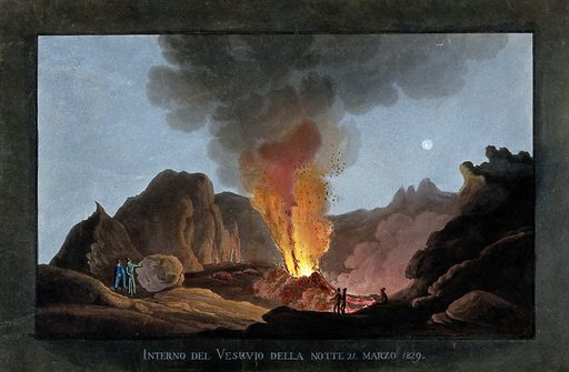 An eruption of Vesuvius at night, 1829, showing the inside of the crater with smoke, fire and lava, and spectators …