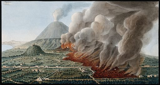 Mount Vesuvius: a volcanic eruption at the foot of the mountain, 1760–1761, causing the destruction of the land and …