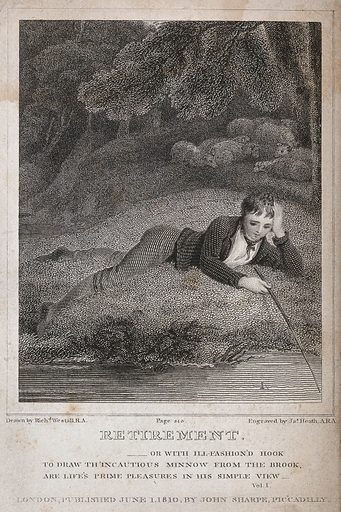 """A youth idling by a brook, representing restful withdrawal from the world. Engraving by J Heath, 1810, after R Westall. An episode in the poem """"Retirement"""" by William Cowper, with lettering quoted from the poem. Created 1 June 1810. Leisure. Fishing. Nature. Contributors: Richard Westall (1765–1836); James Heath (1757–1834); William Cowper (1731–1800). Work ID: sjabmkk8."""