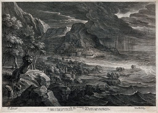 """A storm of thunder and lightning, rain, wind and floods threaten an ancient town on the sea-coast; representing conflict. Engraving by S à Bolswert after Sir PP Rubens. Described thus by Adler (with left and right reversed in the engraving): """"A cloudburst is falling on a rocky mountain coast, with flat land in the foreground. The imposing scene, with rocky mountains in the centre and right background and the sea on the left, is in twilight illuminated by flashes of lightning from behind a dark cloud. The cloud, from which heavy rain falls vertically, overshadows the sea and coast on the left, behind the flat-topped conical mountain in the centre. At the foot of the mountain, lit by a flash of lightning, is a city in a bay, with walls, towers and ships at anchor. On this side of it the sea, driven by the storm, is invading the flat country, on which the spectator looks down from a height, as in the foreground another rocky mountain overlooks the coastal plain; the highest part, on which trees are growing, is in the right corner close to the spectator's vantage-point. Immediately below, along a sunken path between crags, a peasant couple are fleeing out of the picture to the right. The woman has thrown her sea-green skirt over her head as a protection against the wind and rain driving from behind her on the left. The man crouches as he walks and holds both hands in front of his face, pressing a stick to his side with his right arm. The couple are passing beneath a large pollard willow, the twisted trunk of which leans over the path. The forest behind is lit by a lightning flash. Sheep are grazing at its edge; the shepherd has taken refuge under a tall tree, is leaning against the trunk and supporting himself with a stick. In the flat country far below, groves of trees are already lapped by the invading sea; two churches are as yet out of danger. The clefts and chasms of the huge mountains in the background, cut off by the edge of the picture on the extreme right, are """