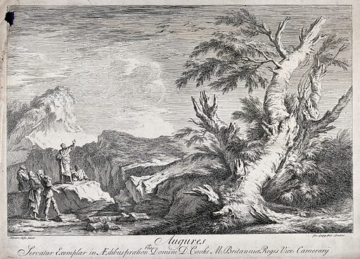 Roman augurs interpreting the flight of birds (?). Etching by J Goupy after S Rosa. Omens. Trees. Witchcraft. Superstition. Contributors: Salvatore Rosa (1615–1673); Joseph Goupy (1689–1769). Work ID: gbbjz36a.