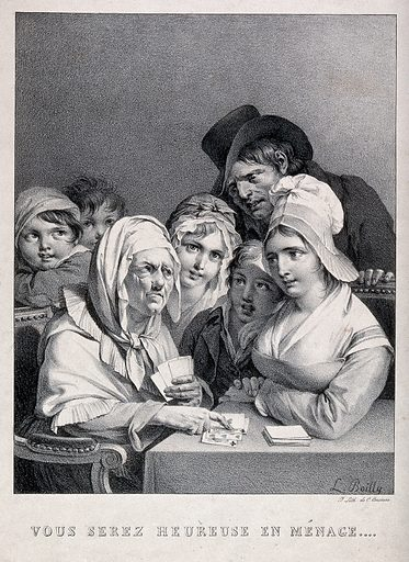 A young woman of humble origins, surrounded by children, is being told by a fortune teller that she will have a happy …