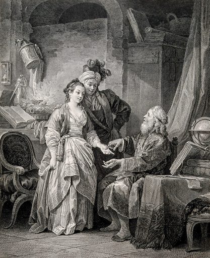 A fortune-teller reading the palm of a young woman accompanied by a young man wearing oriental clothes