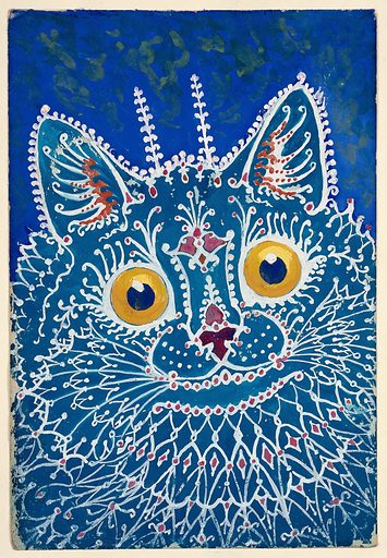 """A cat in """"gothic"""" style. Gouache by Louis Wain, 1925/1939. On a blue ground, a turquoise cat, the patterns of its fur being formed by white lines resembling gothic tracery, crockets etc. Cats. Contributors: Louis Wain (1860–1939). Work ID: c8m74hy4."""