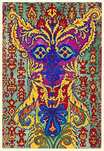 """A cat standing on its hind legs, formed by patterns supposed to be in the """"Early Greek"""" style. Gouache by Louis Wain, 1925/1939. On a green ground with red decorative patterns, the cat's body is mainly in yellow, purple and blue. Cats. Contributors: Louis Wain (1860–1939). Work ID: adxyyuqw."""