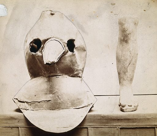 Plague apparatus from a lazaretto in Venice: an oil cloth mask with a bronze beak and a terracotta model of a foot and leg. Photograph. XVII (CENTURY). Work ID: ddgnktsh.