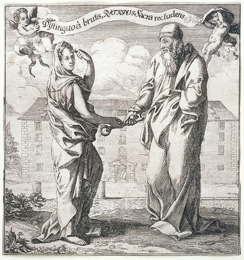 A woman representing Wisdom (?) giving to a philosopher (Aristotle?) the key to the treasure-house of Reason, to distinguish man from the beasts. Etching. The woman points to her forehead, indicating the location of the faculty of reason. In the background, a store-house with sacks (of gold plate?) visible through the open door. Created 1690?. Rationalism. Animals (Philosophy). Work ID: jr4e9qvs.