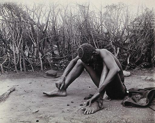 Zimbabwe: a fortune-teller 'reading' some bones