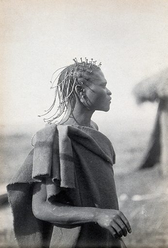 South Africa: a Pondo tribesman with an elaborate hairstyle. Photograph, ca 1900. Work ID: zbe5myaf.