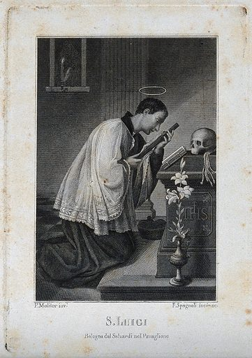 Saint Aloysius Gonzaga. Steel engraving by F Spagnoli after P Molitor. Work ID: g972f29d.