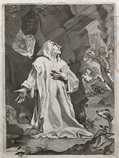 Saint Bruno praying in the wilderness. Engraving after C Mellan. He is kneeling, directed to front, turning his face upwards to right. In the background, four other hermits are shown in the Chartreuse mountains. Right, a dog. De Montaiglon (op. cit. p 56) passes on the tradition that the saint is a portrait by Mellan of Christophe Du Puy, a Carthusian and prior of the Charterhouse in Rome. Created 1600–1699. Hermits. Dogs. Chartreuse Mountains (France). Saint Bruno (approximately 1030–1101). Christophe Dupuy (1580–1654). Contributors: Claude Mellan (1598–1688). Work ID: tewdhhuc.