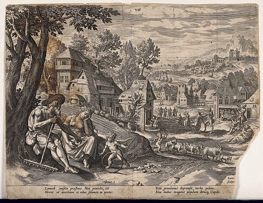 Lamech, holding a farming implement, points at a child; down in the street, various acts of uninhibited licence go on. Engraving. Bible. OT Genesis 528–9 The verse on the left paraphrases Genesis 529; the one on the right mentions the words of an unnamed grandfather to the effect that Cupid drives the population on a rack of propagation. Sheep ascend the hill while a ram below is encouraged by Cupid into sexual activity. The people dance, drink, play music and embrace. These are the doomed antediluvians; they are counterposed to Lamech and Noah's world of virtuous labour. Sex in the Bible. Work – Religious aspects. Original. Sin. Theological anthropology – Christianity. Dance – Religious aspects. Lamech. Noah (Biblical figure). Contributors: Jan Sadeler (1550–1600). Work ID: re2ch6f9.