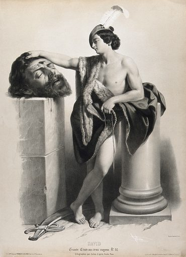 David rests his hand on Goliath's severed head. Lithograph by B-R Julien, 1845, after G Reni. David holds a piece of rope or string in his hand. Goliath's wound is between the eyes. Created 15 May 1845. Fur garments. Beheading. Victory in the Bible. Heroes. Rope. Goliath (Biblical giant). King of Israel. David. Contributors: Guido Reni (1575–1642); Bernard-Romain Julien (1802–1871). Work ID: dw9wtxsf.