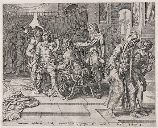 The circumcision of the Shechemites. Engraving by J Muller (?). Shechem had raped Dinah, daughter of Jacob and sister of Simeon and Levi. To make amends, Shechem's father, Hamor, had offered to marry Dinah and Shechem. The Jews agreed on condition that the Shechemites be circumcised. As the latter were recovering from the operation, Simeon and Levi stole into their city and slaughtered every one of them as retribution (Genesis 34). Jacob lamented this action to his grave (Genesis 49.5). In the print, a man behind the patient holds back the latter's arms; the engraver seems to have been unsure whether the patient is wearing a jerkin or not – his right arm is sleeved. The circumciser, dressed in an elaborate costume, holds the circumcised member in his right hand and a sickle-shaped blade in the other. On the paving to the left are the patient's clothes, hat and sword. To the right, a moustachioed man wearing a long hood is being helped away by a youth, his hand clutching his groin. Circumcision – Religious aspects – Judaism. Priests. Blood. Infants in the Bible. Tribes. Penis. Pain. Knives. Deception. Tactics. Rape. Operative. Surgery. Soldiers. Weapons. Armor. Blessed Virgin Mary, Saint. Contributors: Jan Harmensz. Muller (1571–1628). Work ID: qgxsxvfb.