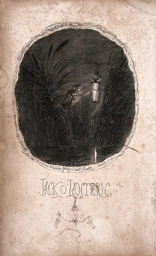Jack o'lantern. Etching by G Cruikshank. Work ID: gg3jtwwq.