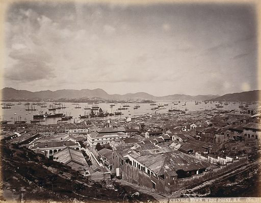 The Chinese town, West Point, Hong Kong. Photograph by WP Floyd, ca 1873. Created between 1800 and 1899. Hospitals – China – Hong Kong. Hong Kong (China). Contributors: William Pryor. Floyd. Work ID: gwdj3drg.