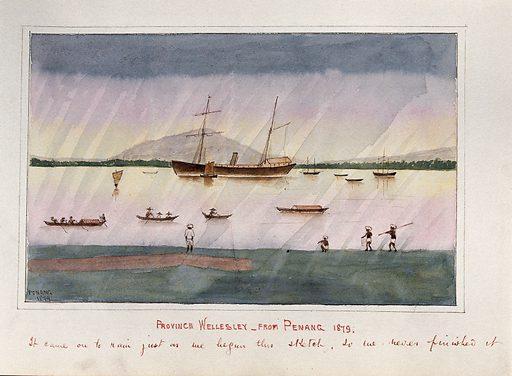 Malaya: a ship and many small boats off the coast of ...