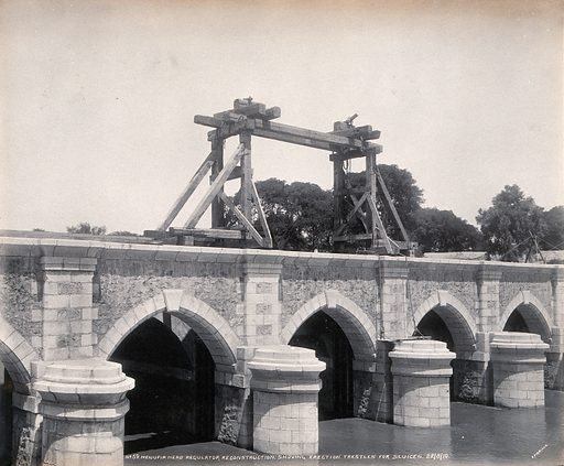Menufia Canal, Egypt: reconstruction work to the first Aswan Dam: equipment for erecting new sluices. Photograph by F Fiorillo, 1910. Created 1910/08/22. Contributors: F Fiorillo. Work ID: w9e9fp82.