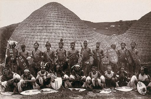Zululand, South Africa: a group of Zulu men in war dress