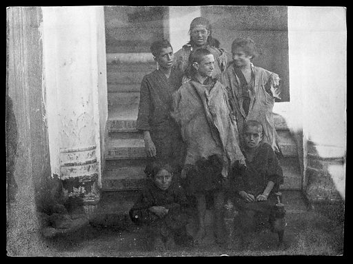 Six Kafir boys. Children. Contributors: Lillias Anna Hamilton. Work ID: hc3e5z64.
