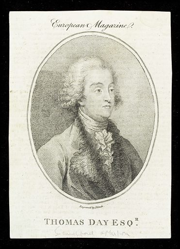 Portrait of Thomas Day, author & political campaigner. Stipple engraving of Thomas Day (1748–1789), author and political campaigner. (His most famous work, destined to be a best-seller for eighty years, was the children's book, Sandford and Merton. Published in three volumes (1783, 1786, and 1789). This is an edifying narrative showing the superiority of virtue to status, and the obligations of humans to their suffering fellows and to animals. Day joined the Lunar circle of scientists, chemists, and inventors, presided over by Erasmus Darwin. In 1769 he adopted two girls from foundling hospitals and bore them off to France to see which of them he could educate (in accordance with Rousseau's ideas) into becoming a suitable wife for himself. One (Sabrina) seemed promising but after conducting some rather extraordinary experiments, which included dropping hot sealing wax on her arm, he concluded that she was insufficiently phlegmatic.). Portraiture. Costume. Writers. Contributors: John Condé. Work ID: q2ndys4d.