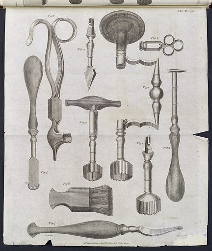 Trepanning instruments, c 1806. Complete set of trepanning instruments. Naval and Military. Surgery. Trepanation. Trephination. Work ID: gr6tn6m2.