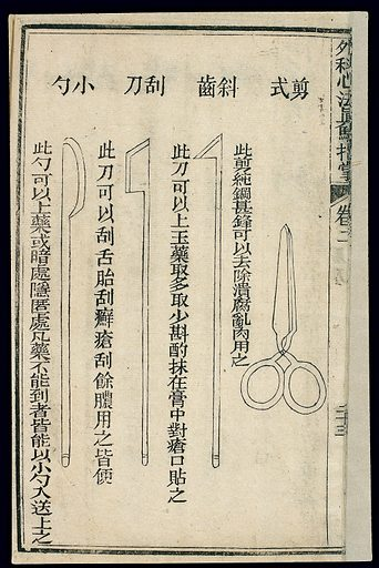 Chinese woodcut: Types of knives and needles (5). Woodblock illustration of surgical instruments/ instruments of external medicine from Waike xinfa zhenyan zhinan (Guide to Tried and True Methods at the Heart of External Medicine), published in 1887 (13th year of the Guangxu reign period of the Qing dynasty). The scissors (jianzi), 'oblique teeth' (xie ya), scraper (gua dao), small spoon (xiao shao), sharp-edged knife (jianren dao), single-bladed knife (danren dao), two-bladed knife (erren dao), three-edged needle (sanleng zhen), four-edged needle (sileng zhen), and small steel scoop (xiao gang chan) were all instruments employed in Chinese medicine for surgical or external treatment. The scissors were generally used to cut away festering or decayed tissue. The 'oblique teeth' were used to dispense the correct amount of a drug. The scraper was used to scrape away tongue coating, ringworm, pus etc. The small spoon was used to apply medication to inaccessible parts of the body. The remaining items are all small, sharp instruments which could be used ad hoc according to the clinical circumstances. Medical instrument. Petty surgery. Work ID: s433aag5.