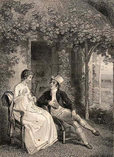 A young couple sit talking in a garden. Engraving by C Heath, 1830, after T Stothard. Created 1830. Gardens. Contributors: Thomas Stothard (1755–1834); Charles Heath (1785–1848). Work ID: cptp6g9f.