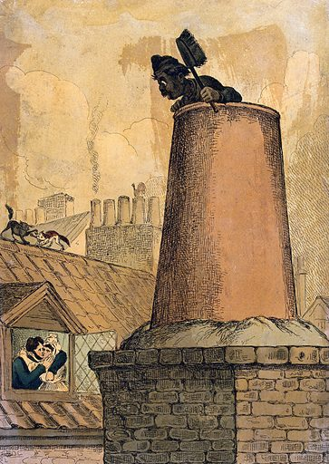A chimney sweep looks over the top of the chimney from where he can see a man and a woman embracing through an open …