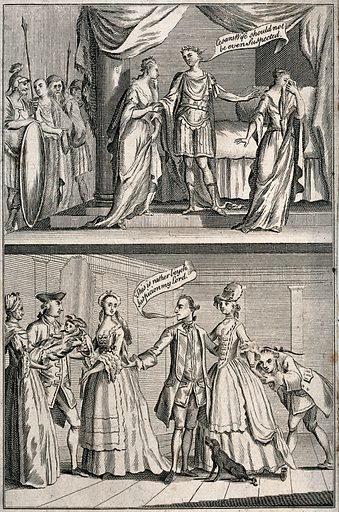 """The third Duke of Grafton divorcing his first wife on the grounds of her adultery compared with Julius Caesar repudiating his wife. Etching. On 11 February 1769, Augustus Henry, third Duke of Grafton, divorced his wife, born Anne Liddell, daughter of Lord Ravensworth, on the grounds of her adultery with John Fitzpatrick, second Earl of Upper Ossory, whom she married on 26 February 1769 In the lower of the two scenes, the third Duke of Grafton stands in the centre and says to the Earl of Upper Ossory, left, """"This is rather beyond suspicion my Lord."""". He refers to the baby born to his wife by the Earl, which the Earl is about to hand over to a wetnurse on the left. Between the Duke and the Earl stands the Duchess. In the upper scene Julius Cæsar says """"Cesars wife should not be even suspected."""". Created 1769. Work ID: tf6ysbgj."""