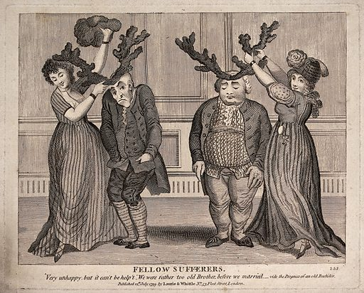 Two couples: the young women putting antlers on to the heads of the older men, indicating their cuckoldry