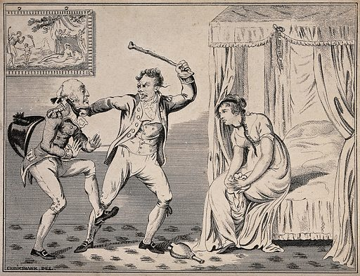 A women sits dejectedly on the end of the bed as one man threatens to hit the other with a riding crop. Etching after George Cruikshank. Contributors: George Cruikshank (1792–1878). Work ID: ar42k8rc.