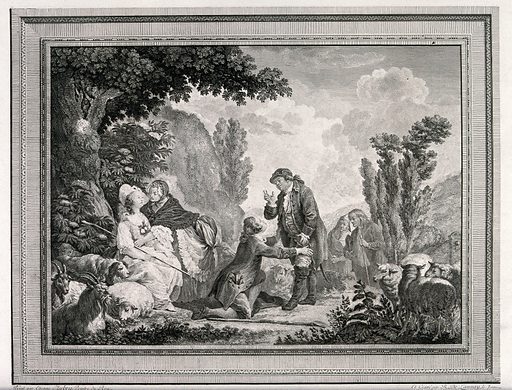 A young girl who has been tending goats is sitting with an old woman while a young man is on his knees in front of an old man who is talking to him. Engraving by R De Launey after Etienne Aubrey. Work ID: b9ura337.