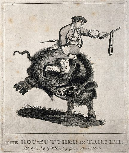 A man swinging a string of sausages from a knife rides on the back of a large black boar. Etching, 1774. Created Sep 4/[17]74. Swine. Butchers. Sausages. Work ID: jvbc3r5f.