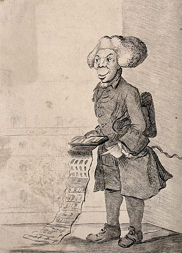 A man is holding out a folding sheet of paper. Etching by J Bretherton after HW Bunbury. Created 20th Decr. 1773. Work ID: x49gdf5p.