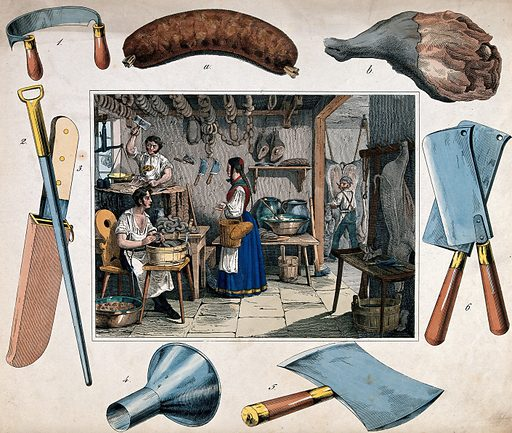 A pork-butcher's shop: two butchers are working with knives and cleavers as another makes sausages, a woman has come to buy and is holding some money in her hand. Coloured etching, 18 –. Around, vignettes of a sausage, a leg of pork, and instruments of the pork-butcher. Created 1800–1899. Pork industry and trade. Butchers. Work ID: t4auxm37.