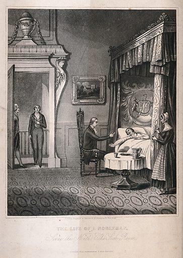 A man is lying ill in bed, a woman pours him a drink, the doctor sits by the bed as a young man enters the door. Aquatint, ca 1825. Created 1825?. Work ID: zhvyd7qj.