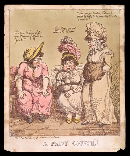 Three women having a discussion in a latrine. Coloured etching, 1801. The woman seated on the left wears eyeglasses. The woman standing on the right has her hands in a muff. All wear large hats. Created Jan.ry 25 1801. Women. Toilets. Defecation. Work ID: r5srvjxr.