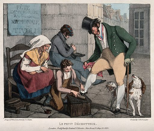A young boy is cleaning the shoes of a man dressed in fine clothes, a woman seated on a chair is watching him and …