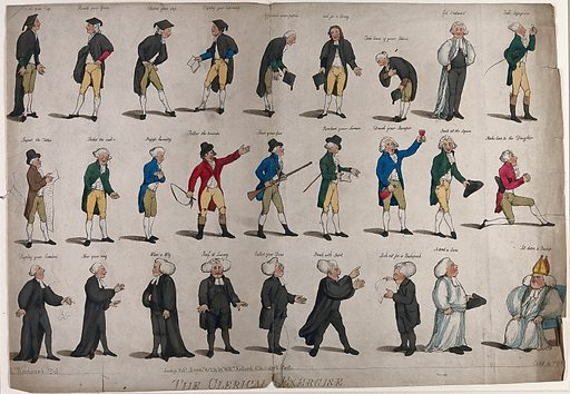 Stages in the career of an Anglican cleric. Coloured etching by FG Byron, 1791, after GM Woodward. Created Decembr. 8 1791. Church of England. Contributors: G M Woodward (approximately 1760–1809); Frederick George Byron (1764–1792). Work ID: mhj9nfwx.