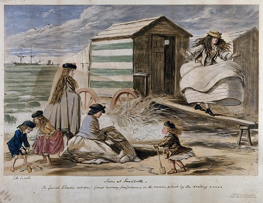 One young woman is walking on a plank near a beach hut as another reads a book and the children play in the sand. Chromolithograph after John Leech. Work ID: nxen9prw.