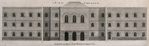 Newgate Gaol in the City of London: a long building with arches at the entrance and many windows. Engraving. The prison was demolished in 1902. Created August 1st 1781. Prisons. London (England). Contributors: George Dance (1741–1825). Work ID: prh2cw2b.