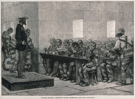 Men are sitting at benches eating and reading as a man at the top of the room watches over them. Wood engraving after Regamay. Work ID: hudkw4gz.