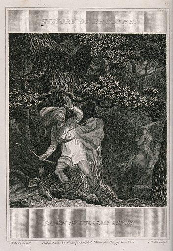 The death of William II (William Rufus): William has been shot with an arrow on a hunt in a forest