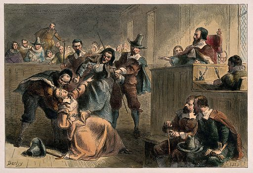 """Bacon's rebellion, Virginia, 1676–1677: Lydia, the wife of the rebel Edmund Cheeseman, faints as he is condemned for treason by the governor of Virgina, William Berkeley; a toothless old lady is restrained from attacking her. Coloured etching by A Bobbet after F Darley. """"Captured in York County in November 1676, about a month after Bacon's death, Cheesman was accused of treason. His wife contrived to be present when Governor Sir William Berkeley questioned him, and she pleaded with the governor to spare her husband's life on the grounds that """"if he had not bin influenc'd by her instigations, he had never don that which he had don."""" On """"her bended knees"""" she begged the governor """"that shee might be hang'd, and he pardon'd"""" Her eloquence and bravery failed to persuade the governor to release or spare him, but before his trial could take place, Edmund Cheesman """"dyed in prisson, of feare, Greife, or bad useage."""""""" – Virginia Bernhard, 'Edmund Cheesman (d 1677)', Encyclopedia Virginia (Virginia Foundation for the Humanities), 22 August 2013, online, accessed 21 May 2018. Created 1800–1899. Bacon's Rebellion (1676). Syncope (Pathology). Trials (Treason). Virginia. Sir William Berkeley (1605–1677). Edmund Cheeseman (-1677?). Lydia Cheeseman (-1695). Contributors: Felix Octavius Carr Darley (1822–1888); Albert Bobbett (approximately 1824–1888 or 1889). Work ID: m6ha75dv."""