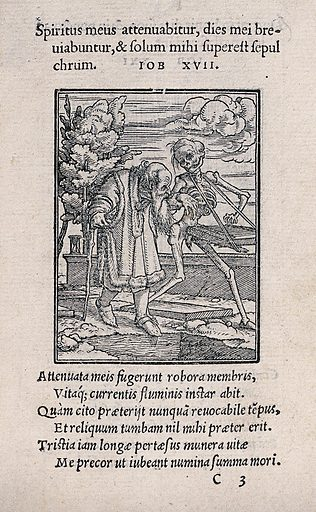 The dance of death: the old man. Woodcut by Hans Holbein the younger. Dance of death. Contributors: Hans Holbein (1497–1543). Work ID: j69fktjn.