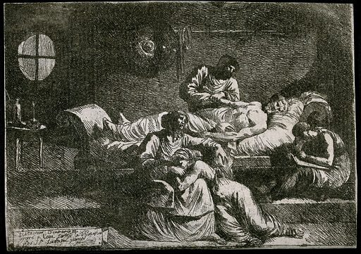 Eudamidas dictating his will on his deathbed, leaving the care of his mother and daughter to two friends. Etching by Jean-Jacques Lagrenée. A different composition from that of the painting by Nicolas Poussin in Copenhagen, but influenced by it. Created between 1760 and 1762. Death. Eudamidas. Contributors: Jean-Jacques Lagrenée (1739–1821). Work ID: ne883b5e.